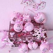 """Подарки к праздникам ручной работы. Ярмарка Мастеров - ручная работа """"Тедди мишки"""" в розовом набор елочных игрушек. Handmade."""