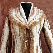 """Одежда ручной работы. Ярмарка Мастеров - ручная работа пальто валяное из флиса альпаки """"Ящерица на горном склоне"""". Handmade."""