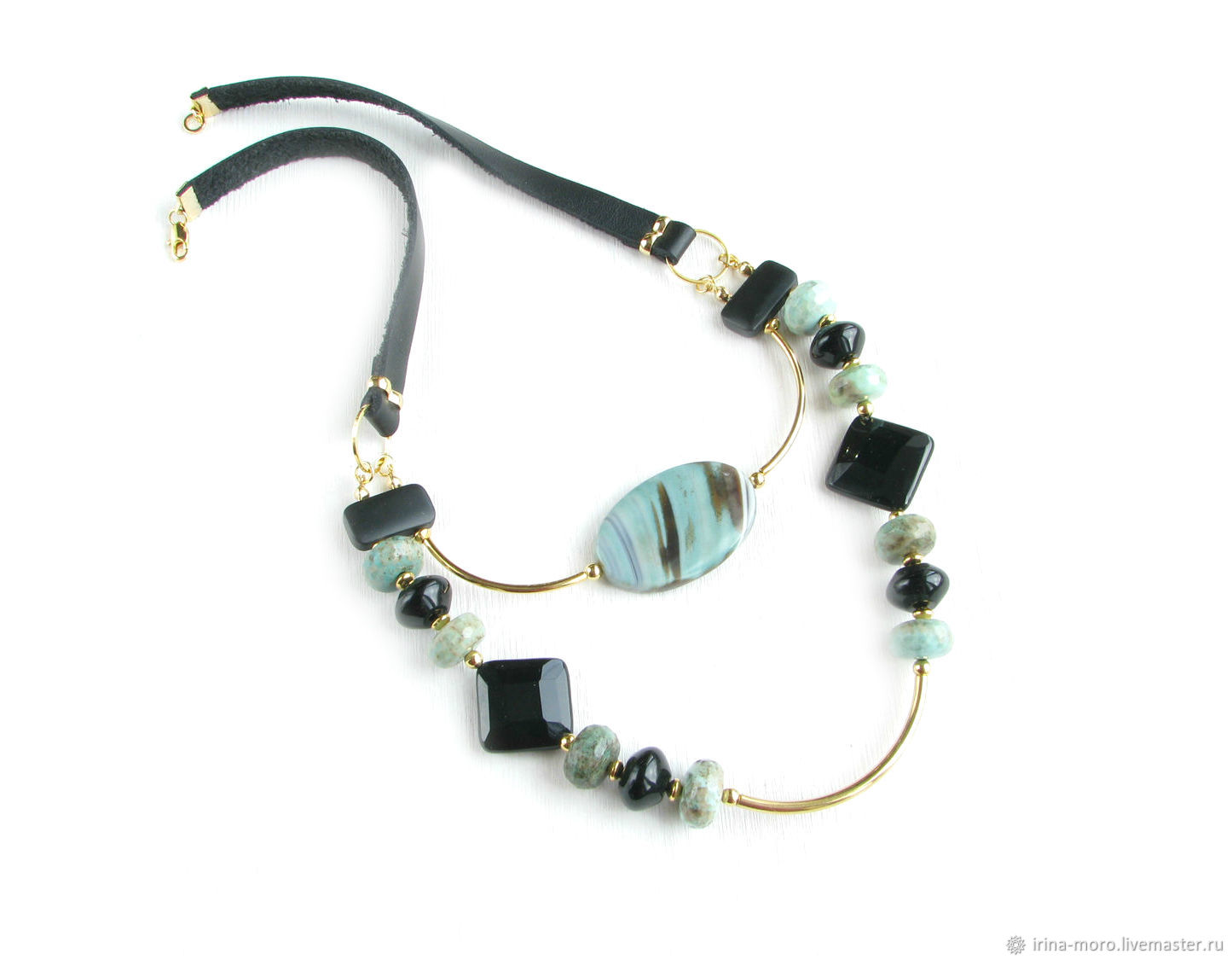 Black festive necklace 'Melody in the forest' necklace on the way out, Necklace, Moscow,  Фото №1
