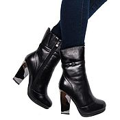 Винтаж handmade. Livemaster - original item 39 size! Winter ankle boot genuine leather black color. Handmade.