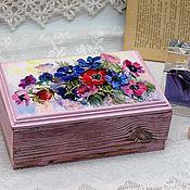 Для дома и интерьера handmade. Livemaster - original item Box Flowers in pink solid coniferous wood. Handmade.