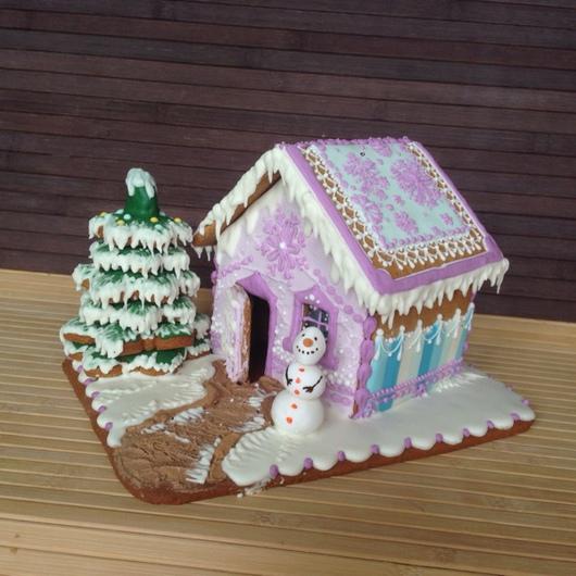 Кулинарные сувениры ручной работы. Ярмарка Мастеров - ручная работа. Купить Новогодний пряничный домик с елочкой. Handmade. Пряники