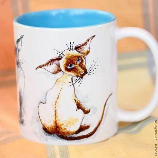 Кружки и чашки ручной работы. Ярмарка Мастеров - ручная работа. Купить Сиамские котики. Handmade. Кошка, Ориентальный
