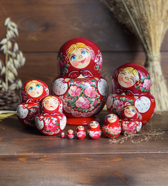 Matryoshka vientre pintado con diferentes emociones, 17 cm 10 lugares, Dolls1, Moscow,  Фото №1