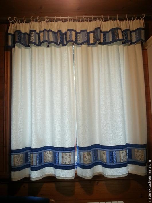 """Текстиль, ковры ручной работы. Ярмарка Мастеров - ручная работа. Купить Шторы """"Поэзия неба"""". Handmade. Синий, печворк"""