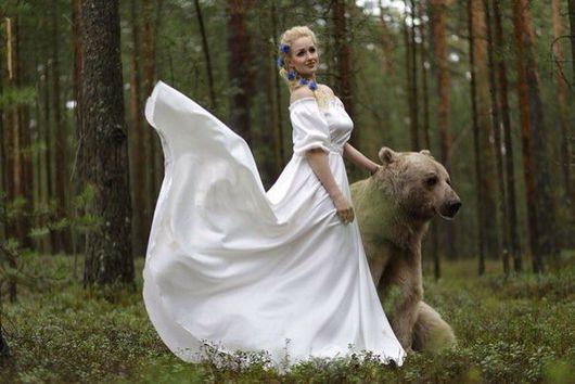 Платья ручной работы. Ярмарка Мастеров - ручная работа. Купить Длинное белое платье Мария. Handmade. Длинное платье, медведь
