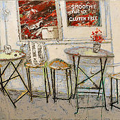 Картины и панно handmade. Livemaster - original item Picture Gluten free (cafe, city, white, red, gray). Handmade.