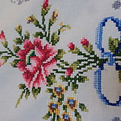 Винтаж ручной работы. Ярмарка Мастеров - ручная работа Дорожка   с милой   вышивкой  крестиком Цветы сказочной красоты. Handmade.