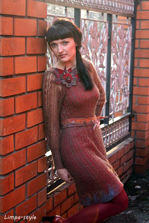 """Платья ручной работы. Ярмарка Мастеров - ручная работа. Купить Платье """"Old rose chocolat"""". Handmade. Платье, кид-мохер"""