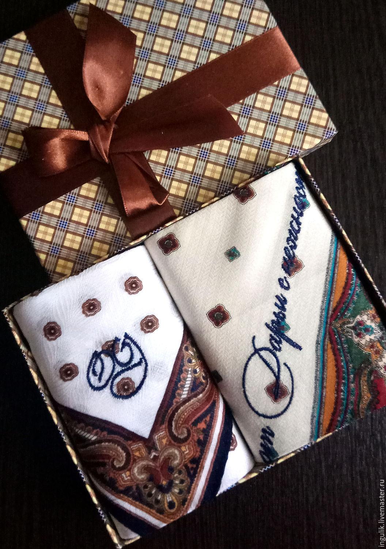Cajas de pañuelos de papel, el dúo del telar jacquar de Lujo. el monograma de las iniciales del mono, Handkerchiefs, Moscow,  Фото №1