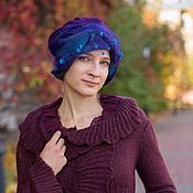 "Аксессуары handmade. Livemaster - original item Copy of Chalma, turban,"" indigo"" wool, knitted, felted. Handmade."