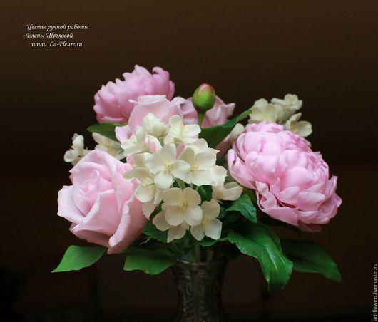 Интерьерные композиции ручной работы. Ярмарка Мастеров - ручная работа. Купить Розы, пионы и жасмин. Handmade. Керамическая флористика, цветы