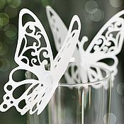 """Карточки ручной работы. Ярмарка Мастеров - ручная работа Рассадочные карточки """"Бабочки"""". Handmade."""