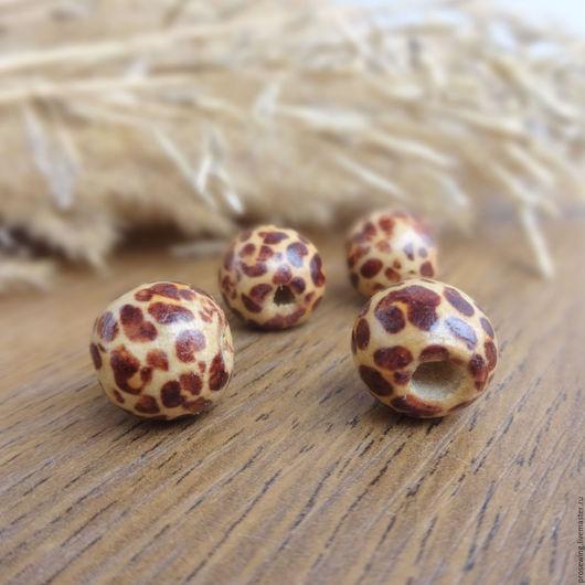 Деревянные окрашенные бусины. Рисунок - леопардовый хищный принт. Бусины из дерева для украшений, для изделий в стиле кантри, бохо и др. Цена за 1 шт.