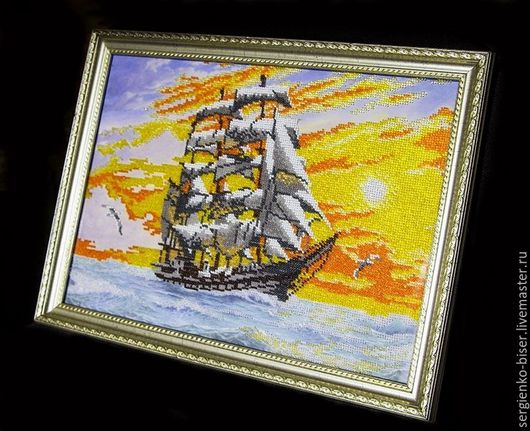 Картина `Парусник` вышита бисером, ручная работа. Светлана Сергиенко