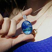 Украшения handmade. Livemaster - original item Pendant with painted Seascape. Jewelry Painting on mother of pearl. Handmade.