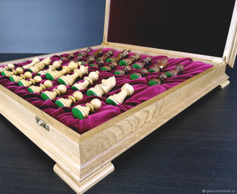 Chess Classic, 43x43 cm, oak, handmade, Chess, St. Petersburg,  Фото №1