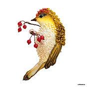 Украшения ручной работы. Ярмарка Мастеров - ручная работа Брошь-птица «Любительница ягод».Текстильная птичка.. Handmade.