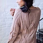 Одежда manualidades. Livemaster - hecho a mano Jerseys: Women`s sweater spokes of Merino in the color powder. Handmade.