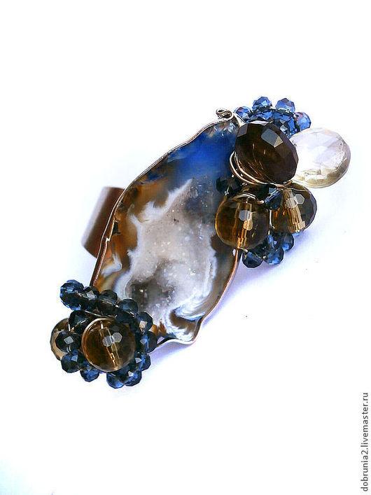 """Кольца ручной работы. Ярмарка Мастеров - ручная работа. Купить Кольцо """"Галактика"""". Handmade. Тёмно-синий, агат"""
