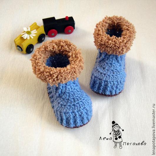 """Для новорожденных, ручной работы. Ярмарка Мастеров - ручная работа. Купить Пинетки """"Сапожки"""" зимние. Handmade. Синий, пинетки ботиночки"""
