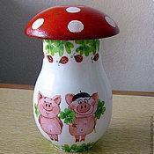 Сувениры и подарки ручной работы. Ярмарка Мастеров - ручная работа копилка, грибок со свинками. Handmade.