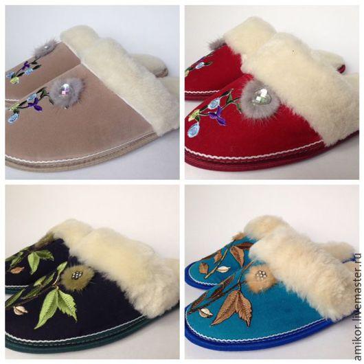 Обувь ручной работы. Ярмарка Мастеров - ручная работа. Купить Тапочки из овчины женские с узором. Handmade. Комбинированный, комфортная обувь