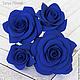 Заколки ручной работы. Ярмарка Мастеров - ручная работа. Купить Набор шпилек с розами - Синие (4 шт). Handmade.