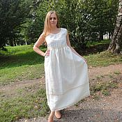 Одежда handmade. Livemaster - original item Linen dress with cotton lace. Handmade.