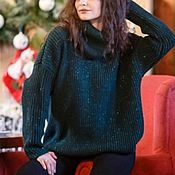 Одежда handmade. Livemaster - original item Oversize sweater with lurex Merino wool New year Mood. Handmade.