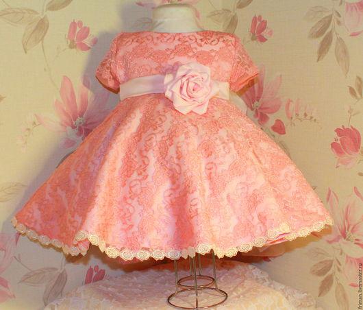 Одежда для девочек, ручной работы. Ярмарка Мастеров - ручная работа. Купить Кружевное платье. Handmade. Розовый, на День рождения