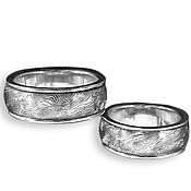 """Свадебный салон ручной работы. Ярмарка Мастеров - ручная работа Обручальные кольца """"Слияние..."""" с Дамасской сталью и из Белого золота. Handmade."""