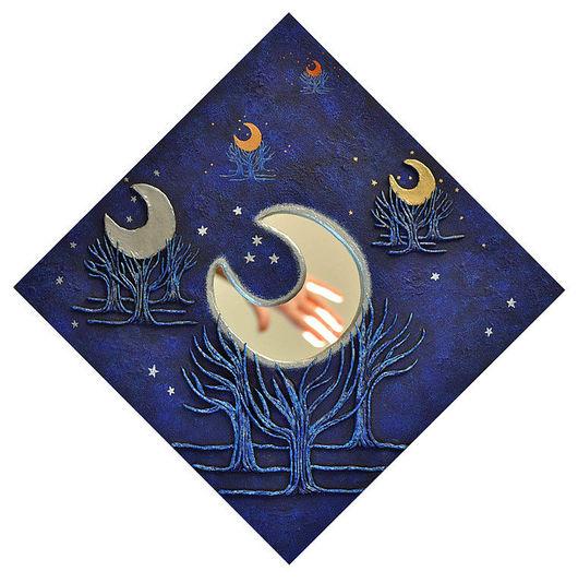 Зеркала ручной работы. Ярмарка Мастеров - ручная работа. Купить Луны. Звёзды. Зеркало с ручной росписью для украшения интерьера.. Handmade.