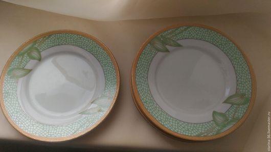 Винтажная посуда. Ярмарка Мастеров - ручная работа. Купить 5 пирожковых тарелок. Фарфор. Handmade. Ярко-зелёный