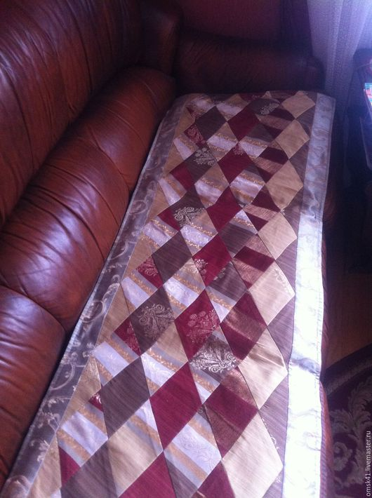 Текстиль, ковры ручной работы. Ярмарка Мастеров - ручная работа. Купить Дорожка на диван. Handmade. Бордовый, золотой, портьерная ткань