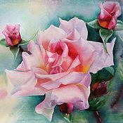 """Картины и панно ручной работы. Ярмарка Мастеров - ручная работа """"Прекрасная роза"""" акварель /оформлена/. Handmade."""