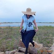 Одежда ручной работы. Ярмарка Мастеров - ручная работа жилет Розы цвета неба вязаный женский авторский бохо. Handmade.