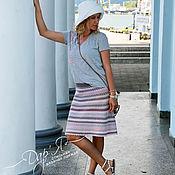 """Одежда ручной работы. Ярмарка Мастеров - ручная работа """"Лиция"""" вязаная крючком юбка полосками из хлопка. Handmade."""