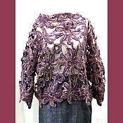 Одежда ручной работы. Ярмарка Мастеров - ручная работа Свитер накидка шерсть макраме крупные цветы дырка. Handmade.