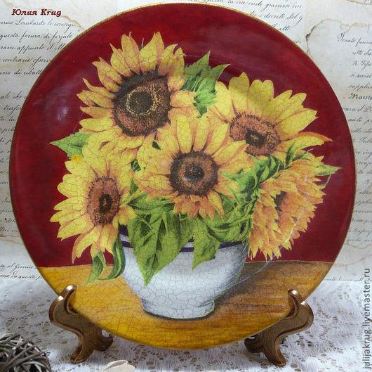 """Тарелки ручной работы. Ярмарка Мастеров - ручная работа. Купить Тарелка-панно """"Цветы солнца"""". Handmade. Тарелка, тарелки"""