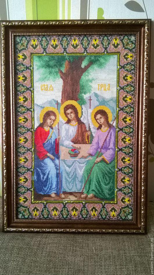 Иконы ручной работы. Ярмарка Мастеров - ручная работа. Купить икона «Святая Троица». Handmade. Комбинированный, счетный крест