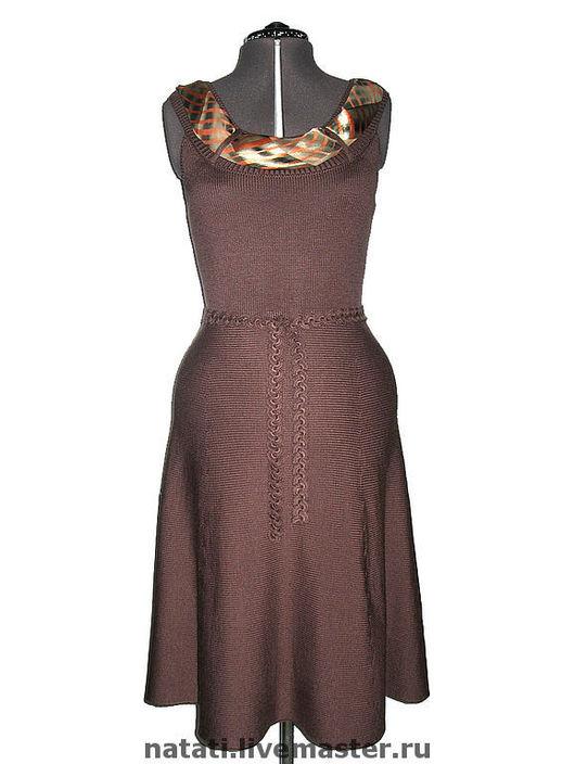 Платья ручной работы. Ярмарка Мастеров - ручная работа. Купить Платье коричневое с круглой кокеткой. Handmade. Вязаное платье