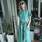 Одежда ручной работы. Ярмарка Мастеров - ручная работа 46-48 размер распродажа бохо платье (лен светло-бирюзовый). Handmade.
