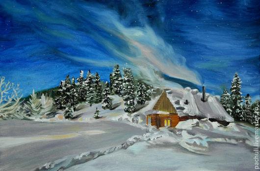 Пейзаж ручной работы. Ярмарка Мастеров - ручная работа. Купить Волшебная зима. Картина маслом.. Handmade. Тёмно-синий, волшебная