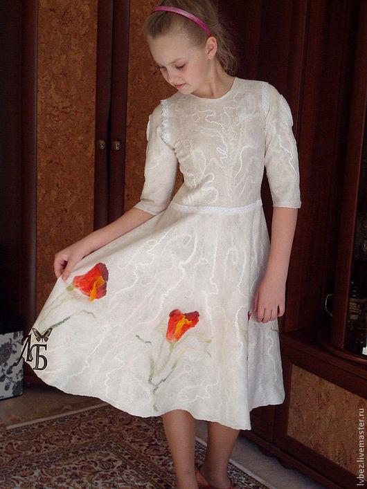 Для подростков, ручной работы. Ярмарка Мастеров - ручная работа. Купить Платье для Полины. Handmade. Белый, валяное платье