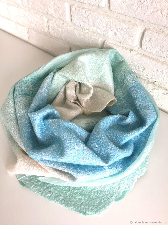 Шарфы и шарфики ручной работы. Ярмарка Мастеров - ручная работа. Купить шарф валяный мятно-голубой. Handmade. Валяный шарф