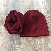 Комплекты головных уборов ручной работы. Ярмарка Мастеров - ручная работа Комплекты шапке и снуд из трикотажа лапша. Handmade.