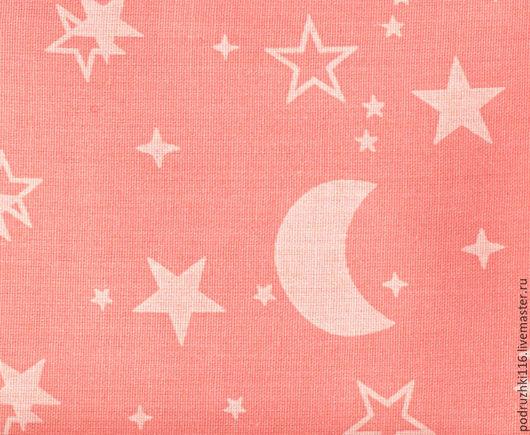 Шитье ручной работы. Ярмарка Мастеров - ручная работа. Купить Ткань Хлопок Луна и Звезды на розовом. Handmade. Хлопок