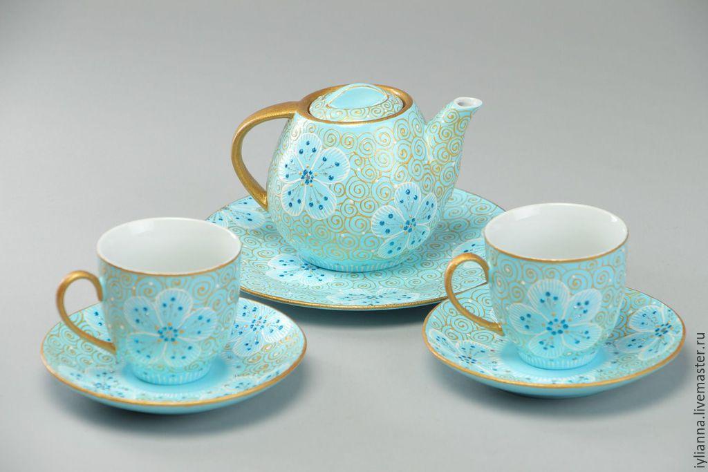 сервиз чайный голубой