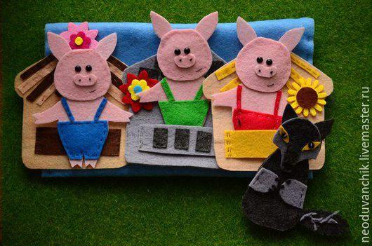"""Кукольный театр ручной работы. Ярмарка Мастеров - ручная работа. Купить Сказка для детей """"Три поросенка"""". Handmade. Комбинированный, игрушка"""